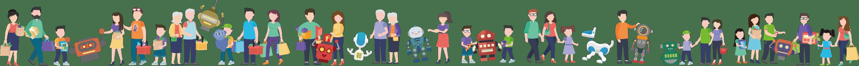 人間とロボットの集合イラスト